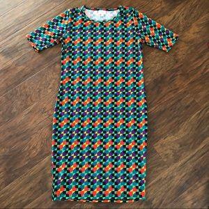 LuLaRoe Julia Geometric Colorful Sheathe Dress